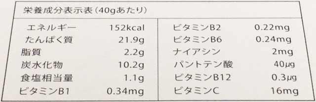 ソライナプロテイン ダークチョコレート 栄養成分表